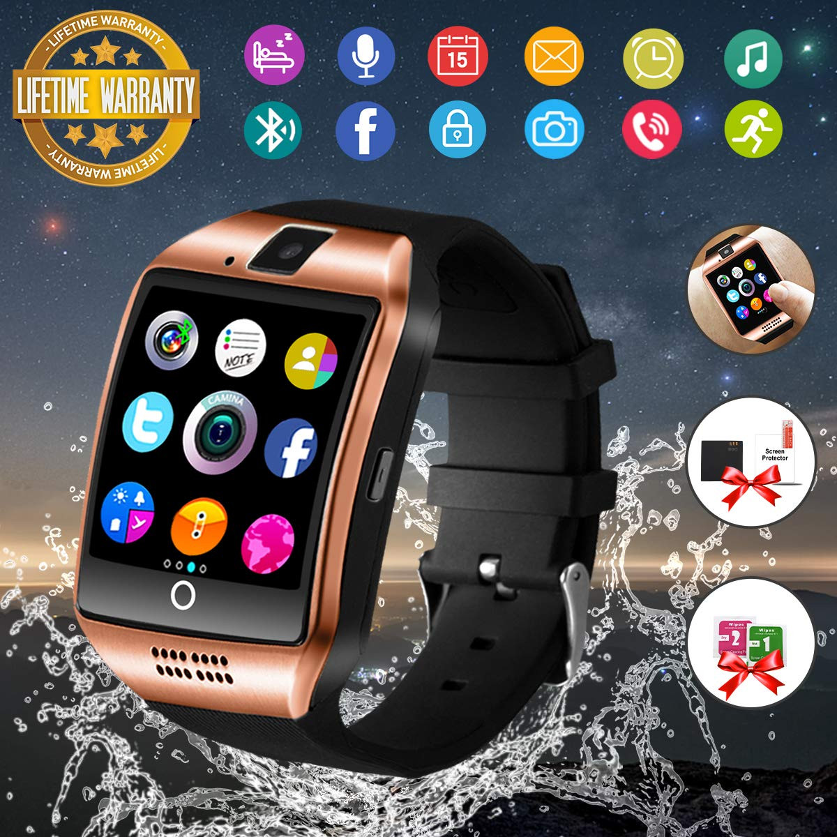 Smart Watch,Bluetooth Smartwatch Touch Screen Wrist Watch with Camera/SIM  Card Slot,Waterproof Smart Watch Sports Fitness Tracker Compatible with