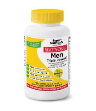 SuperNutrition SimplyOne Men Triple Power Iron-Free Multivitamin Tablets, 30 Ct