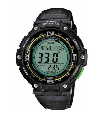 Casio Men's Twin Sensor Compass Watch, Green Nylon Strap