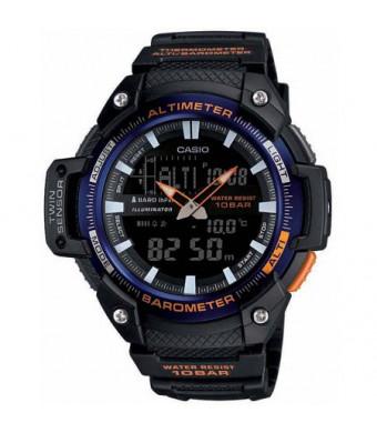 Casio Men's Analog-Digital Twin Sensor Watch, Black Dial