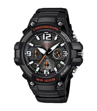 Casio Men's Rugged Chronograph Watch, Black/Red