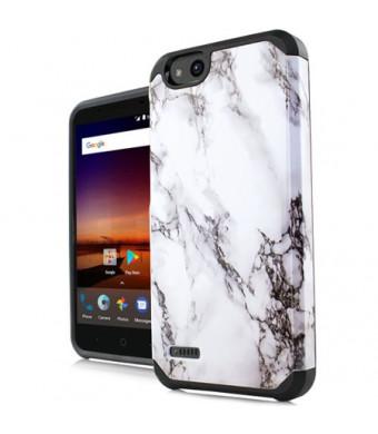 size 40 05a7c ba818 MUNDAZE White Grey Marble Design Duo Case For ZTE Tempo X / Blade Vantage  Phone