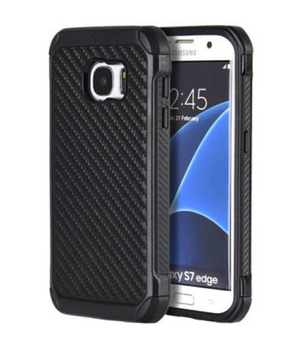 Samsung Galaxy S7 edge Tough Hybrid Black Carbon Fiber Case