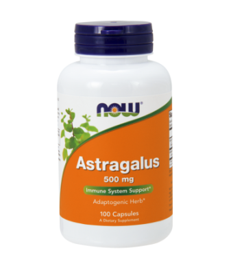 NOW Astragalus 500 mg Capsules, 100 Ct