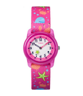 Timex Girls' Time Machines Pink Sea Watch, Elastic Fabric Strap