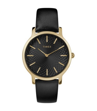 Timex Women's Metropolitan 34mm Black/Gold-Tone Watch, Leather Strap