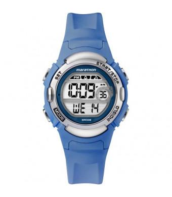 Marathon by Timex Women's Digital Mid-Size Blue/Silver-Tone Watch, Resin Strap