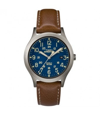 Timex Expedition Scout 36 Brown/Titanium/Blue Watch, Leather Strap