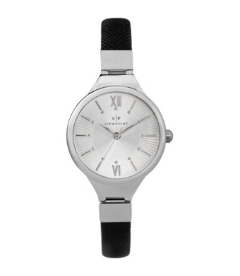 Viewpoint by Timex Women's 30mm Silver-Tone Dial Watch, Black Strap