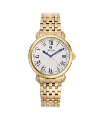 "Croton Men's ""Heritage"" Goldtone Stainless Bracelet Watch with White Dial"