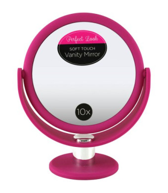 Swissco Soft Touch Large Round Standing Mirror 1X/10X in Pink