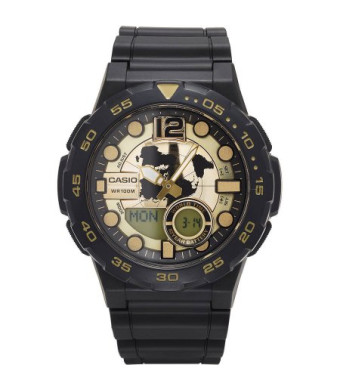 Casio Men's Ana-Digi Dive Style Watch, Black/Gold, AEQ100BW-9AVCF