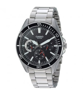 Casio Men's Multi-Hand Dive Style Watch, Black Dial