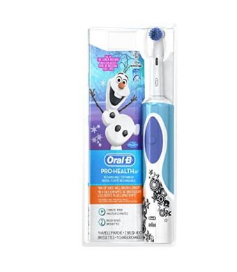 """Oral-B Frozen Kids Electric Rechargeable Power Toothbrush Includes 2 Sensitive Clean Refills (for children 6+)"""""""