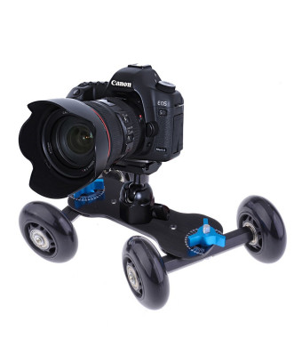 NEEWER Tabletop Mobile Rolling Slider Dolly Car Skater Video Track Rail for Speedlite DSLR Camera Camcorder Rig (Black)