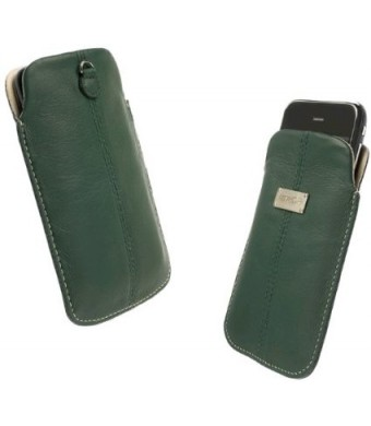 Krusell Luna Large Premium Leather Pocket Pouch for iPhone 4 / 4S and other Smartphones with 3.5 / 4.0 inch Screen - Green/Sand