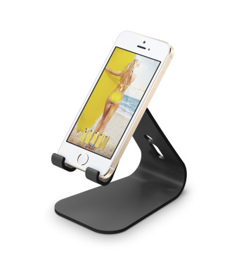 elago M2 Stand [Black] - [Premium Aluminum][Angled for Video Calls][Cable Management] - for all iPhones, Galaxy, and other Smartphones
