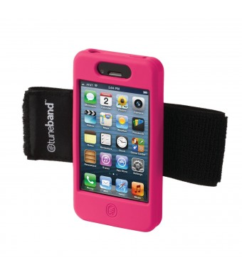 TuneBand for iPhone 4 / iPhone 4S, Premium Sports Armband with Two Straps and Two Screen Protectors (Pink)