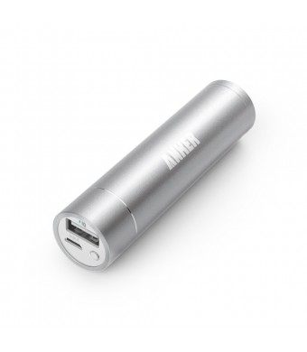 Anker 2nd Gen Astro Mini 3200mAh Lipstick-Sized Portable Charger External Battery Power Bank with PowerIQ Technology for USB Devices (Silver)