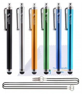 "The Friendly Swede Basics - Bundle of 6 Capacitive Stylus Pens (Rubber Tip, Universal Compatibility) + Two 15""  Lanyards + Microfiber cloth (Black, G"