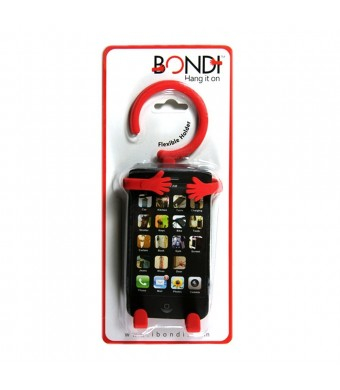 Bondi Unique Flexible Cell Phone Holder Made of High Quality Silicon - Retail Packaging - Red