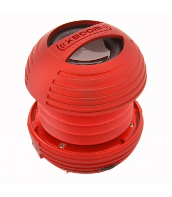 XBOOM Mini Portable Capsule Speaker with Rechargeable Battery and Enhanced Bass+ Resonator - Red