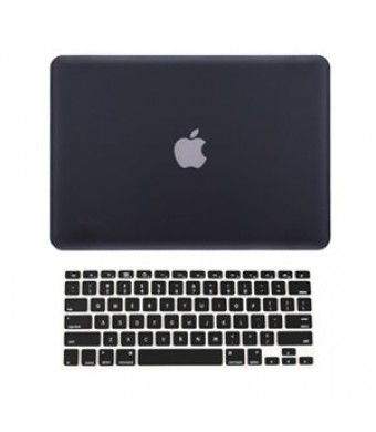 "TopCase 2 in 1 Retina 13-Inch BLACK Rubberized Hard Case Cover for Apple MacBook Pro 13.3""  with Retina Display Model: A1425 and A1502 (NEWEST VERSIO"
