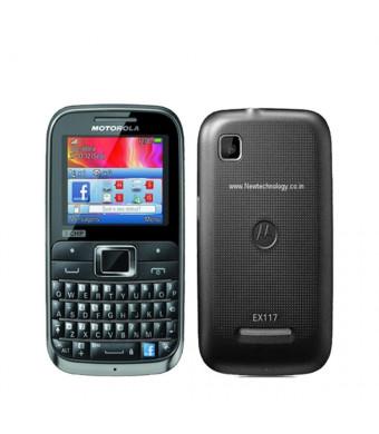 Motorola MOTOKEY EX117 3-Chip Unlocked GSM Phone with QWERTY Keypad, 2 MP Camera, Dedicated Facebook Button and microSD Slot - Brown/Black