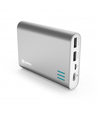 Jackery Giant+ Dual USB Portable Battery Charger and External Battery Pack for iPhone, iPad, Galaxy, and Android Smart Devices - 12,000 mAh (Silver)