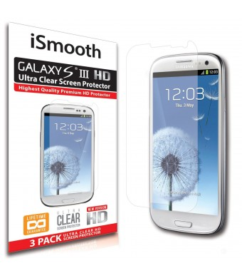 Samsung Galaxy S3 Screen Protector - NEW 2014 Ultra Premium HD Version - 3 PACK Ultra Clear - iSmooth - Free Lifetime Replacement Guarantee - Bubble