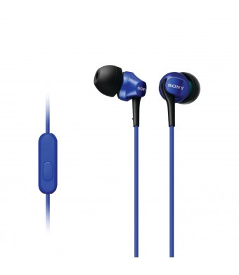 Sony MDR-EX100AP/L In-Ear Headset for Smartphone, Blue