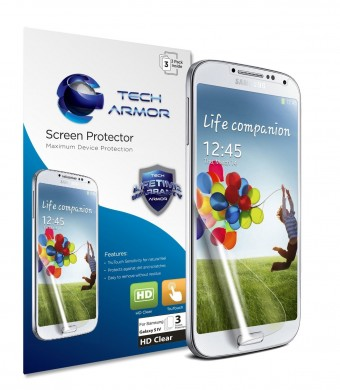 Tech Armor Samsung Samsung Galaxy S4 (Not S4 ACTIVE) High Defintion (HD) Clear Screen Protectors -- Maximum Clarity and Touchscreen Accuracy [3Pack]