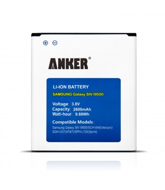[NFC/Google Wallet Capable] Anker 2600mAh Li-ion Battery for Samsung Galaxy S4, I9500, I9505, M919 (T-Mobile), I545 (Verizon), I337 (ATandT), L720 (S