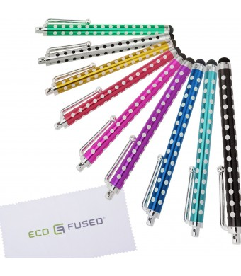 ECO-FUSED Polka Dot Stylus Pens! 9 pieces Stylus Pens compatible with iPad 1 2 3 4 Mini, iPhone 3 3G 3GS 4 4S 5, iPod Touch 3 4 5 , Adroid Tablets, S