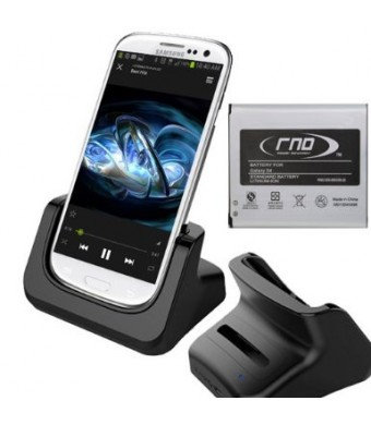 RND Dock + 2600mAh NFC Standard Battery for Samsung Galaxy S4 (compatible without or with a slim-fit case) (black)