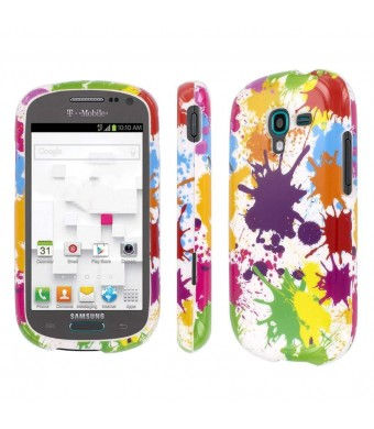 Samsung Galaxy Exhibit Case, MPERO Collection Full Coverage Paint Splatter White Case for Samsung Galaxy Exhibit T599