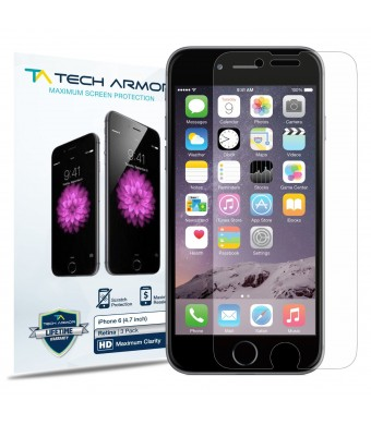 iPhone 6 Screen Protector, Tech Armor Apple iPhone 6 (4.7 inch ONLY) High Defintion (HD) Clear Screen Protectors [3-Pack] Lifetime Warranty