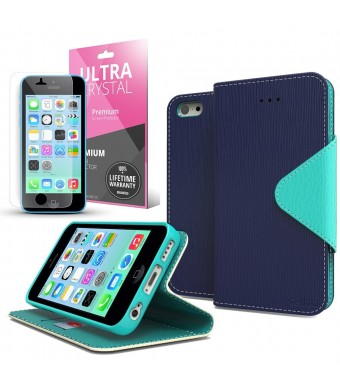 [ iPhone 5C Case] Cellto iPhone 5C Case Wallet Flip Type with HD Screen Prote...