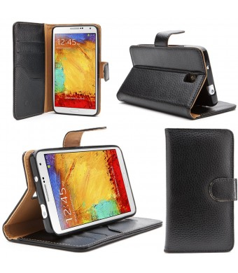 Galaxy Note 3 Case, i-Blason N9000 Smart Phone Leather Slim Book Case Cover with Stand Feature for Samsung Galaxy Note 3 (Black)