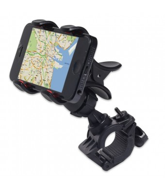 GreatShield Clip-Grip Handlebar Bike Mount Holder for iPhones, Samsung Galaxy, LG, BlackBerry, HTC Smartphones, GPS Devices and More