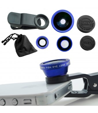 Universal 3 in 1 Cell Phone Camera Lens Kit - Fish Eye Lens / 2 in 1 Macro Lens and Wide Angle Lens / Universal Clip (Blue)