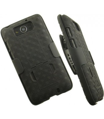 OEM VERIZON BLACK SHELL CASE BELT CLIP HOLSTER STAND FOR MOTOROLA DROID MAXX XT1080M