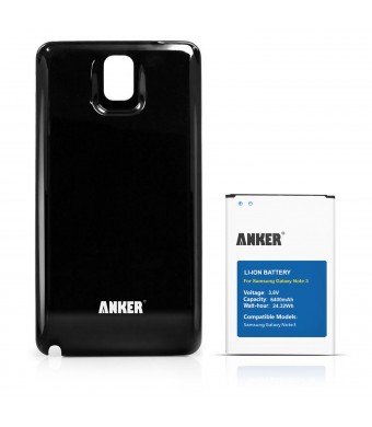Anker 6400mAh Extended Battery with Black Cover for Samsung Galaxy NOTE 3 III, N9000, N9005 LTE, Verizon N900V, T-Mobile N900T, ATandT N900A, Sprint