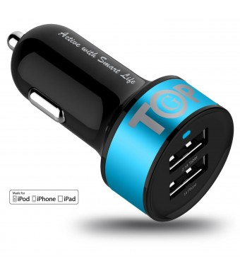 Car Charger TopG Smart Mini 3.4A High Output 2-Port Rapid USB Car Charger with SmartIC Technology - Retail Packaging - Blue