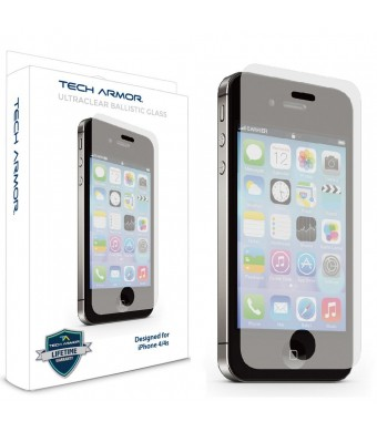 Tech Armor Apple iPhone 4/4S Premium Ballistic Glass Screen Protector - Protect Your Screen from Scratches and Drops - Maximize Your Resale Value - 9