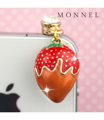 Ip438 New Arrival Red Strawberry Phone Strap Anti Dust Phone Plug Cover Charm