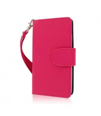 LG Optimus F7 Wallet Case, MPERO FLEX FLIP Wallet Case for LG Optimus F7 US780 - Pink / Navy Blue