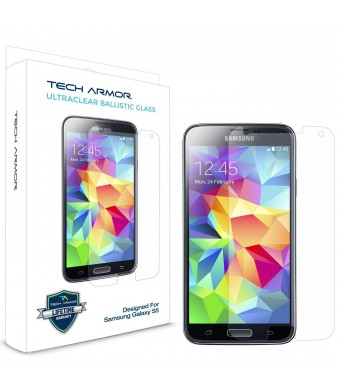 Tech Armor Samsung Galaxy S5 Premium Ballistic Glass Screen Protector - Protect Your Screen from Scratches and Drops - 99.99% Clarity and Accuracy