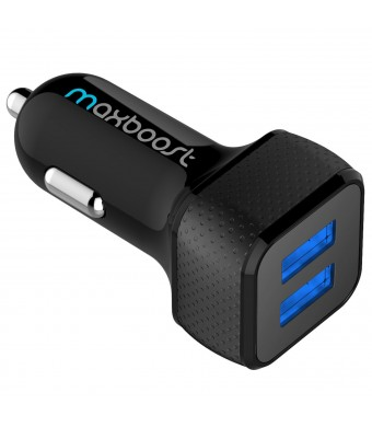 [Smart Port Car Charger] Maxboost 4.8A/24W 2-Port USB Car Charger -[Black/Black] Portable Fast External Battery Pack Charger Compatible to iPhone 6 P