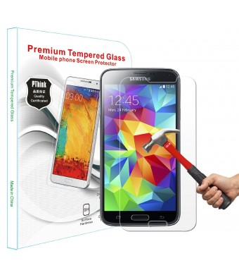 PThink 2.5D Round Edge 0.3mm Ultra Slim Nano Tempered Glass Screen Protector for Samsung Galaxy S5 with Perfect Anti-scratch/Fingerprint and water an
